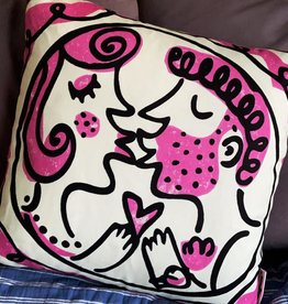 Pink Kiss cushion 18 x 18""