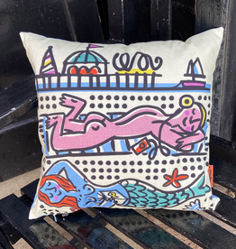 Sunbathers cushion 15 x 15""