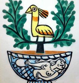 Jade Plant with Yellow Bird