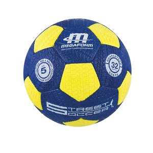 Straatvoetbal geel/blauw