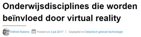 Onderwijsdisciplines die worden beïnvloed door virtual realit