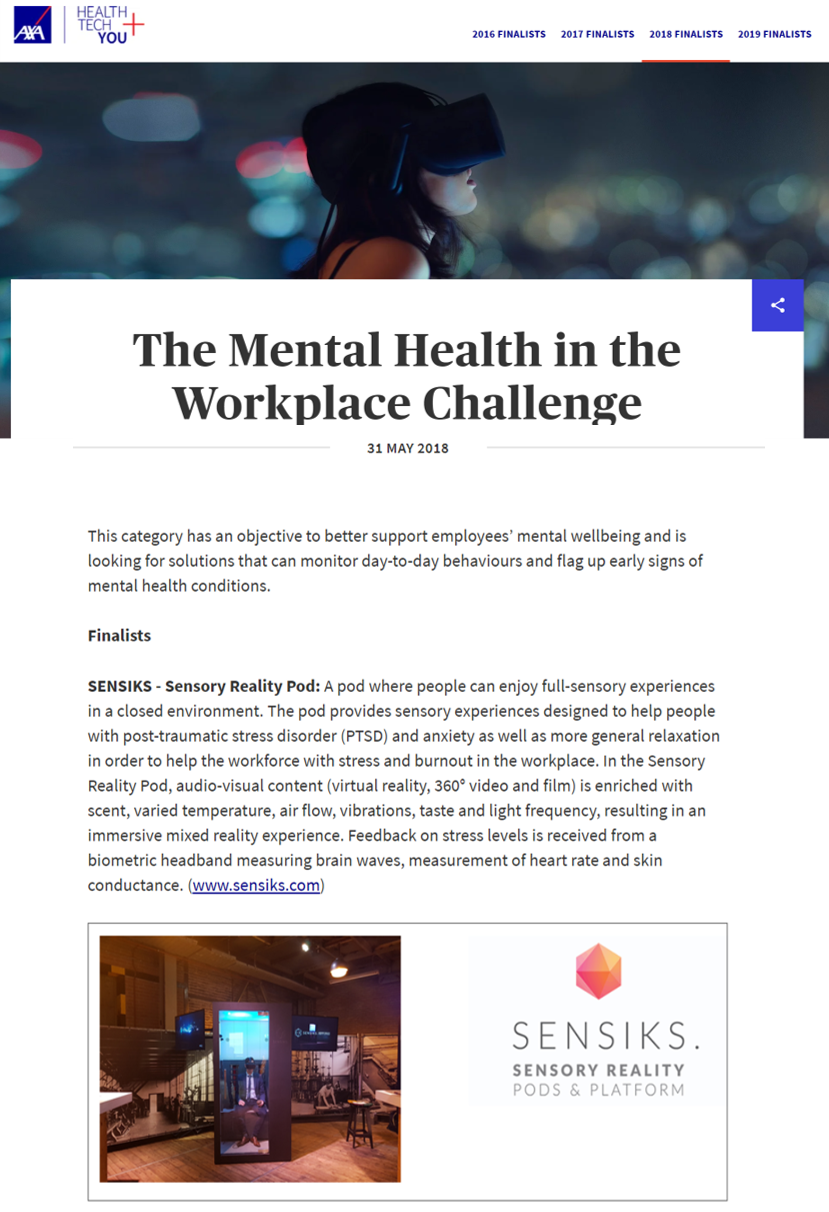 axa mental health at the workplace challenge sensiks