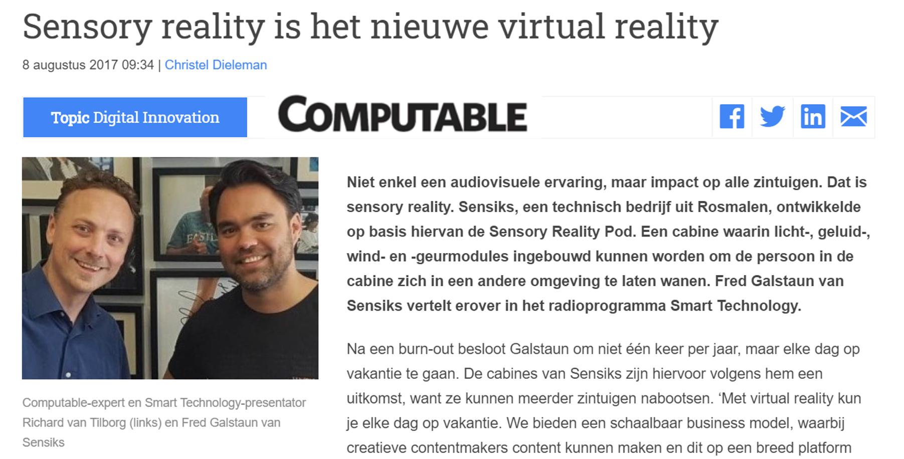 Sensory reality is het nieuwe virtual reality