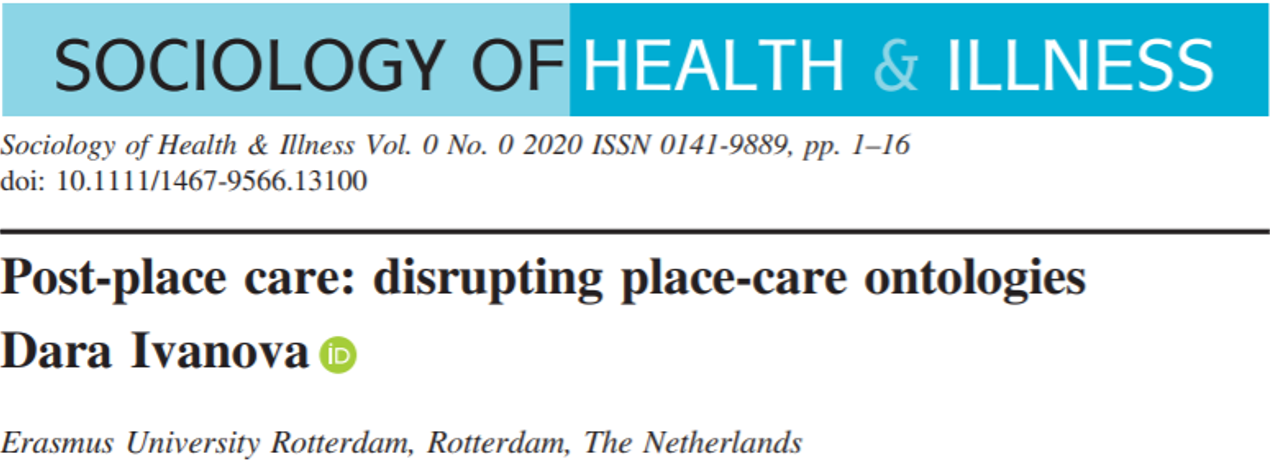 Post-place care disrupting place-care ontologies sensory reality