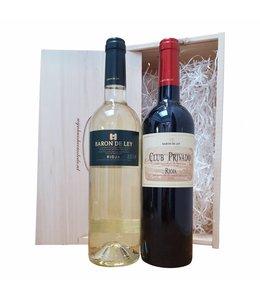 Wijn relatiegeschenk Spaans wit/rood