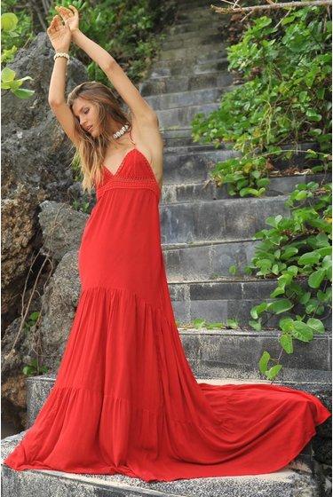 Maxi Dress Julia Suede - Indian Red ... 92a55ffe8