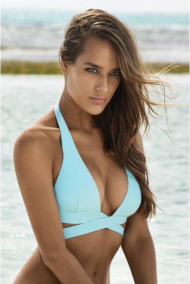 56cae8ea50 Moulded Halter Bikini Top Gigi Wrap - Blue ...