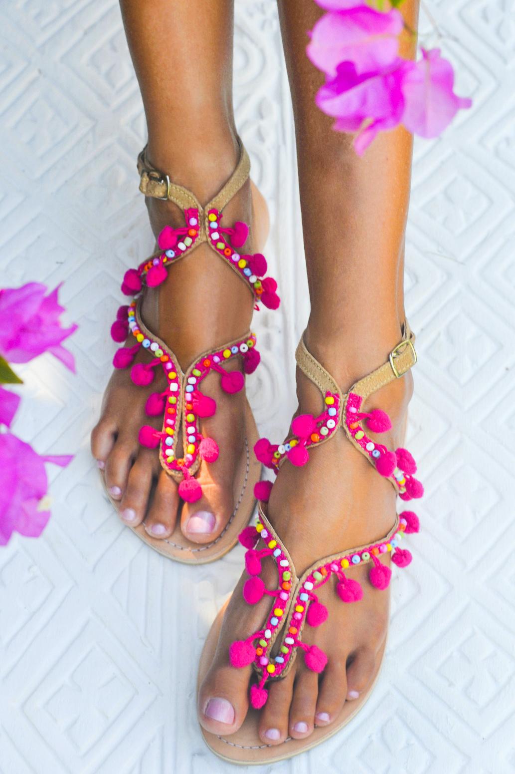 88e1b5ab84c Hot Lava Sandals Lulu Pompom Hot Lava - Fuchsia
