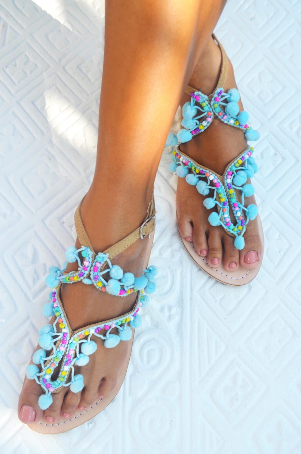 041ef3dd728 Hot Lava Sandals Lulu Pompom Hot Lava - Aqua