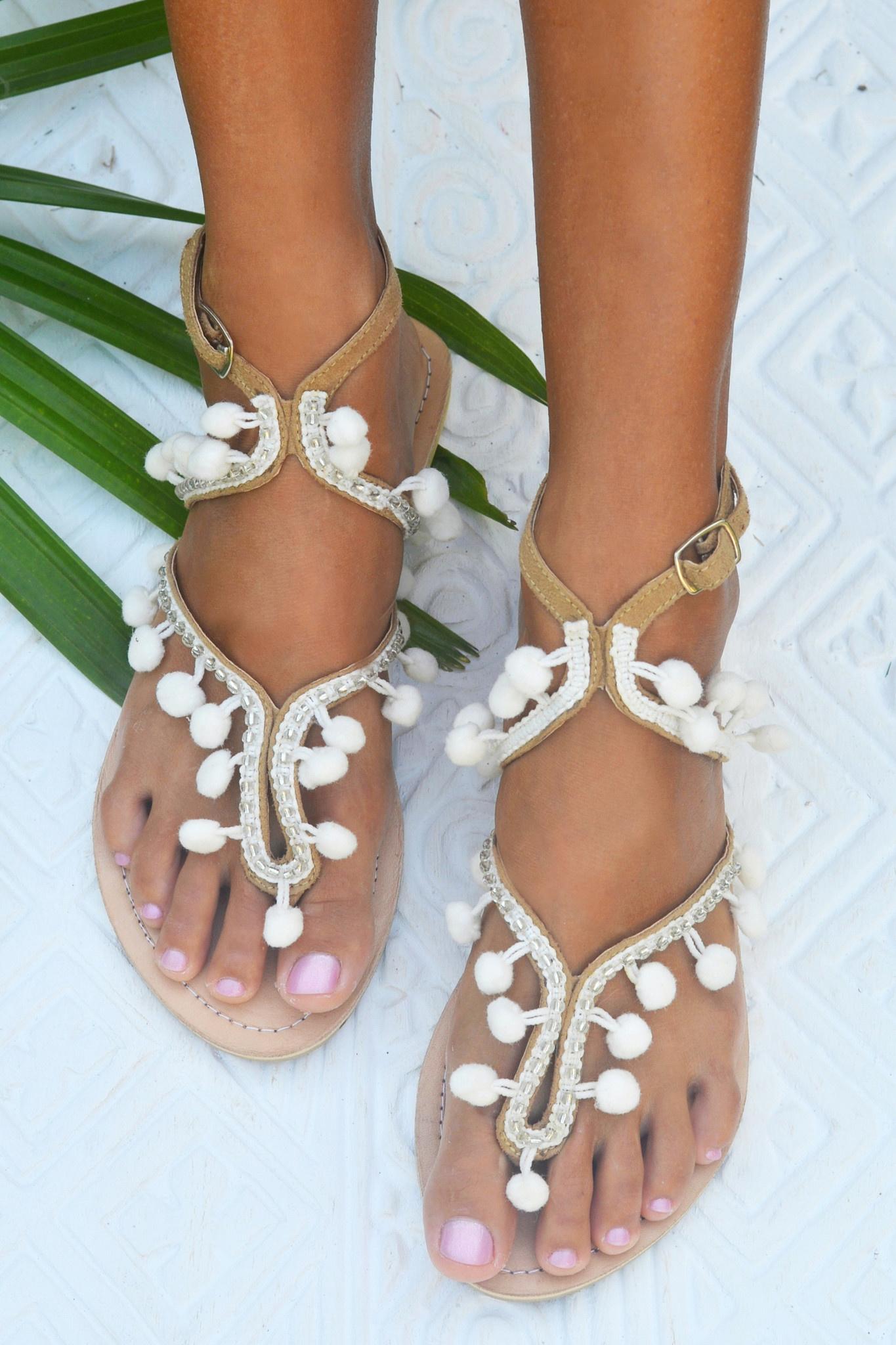 1b107c7c229 Hot Lava Sandals Lulu Pompom Hot Lava - White