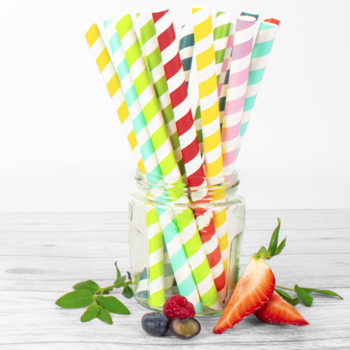 Colored paper straws for bubble tea