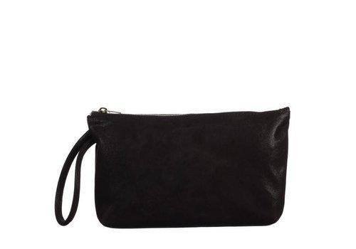 Le Babe Black Shimmer Suede bag