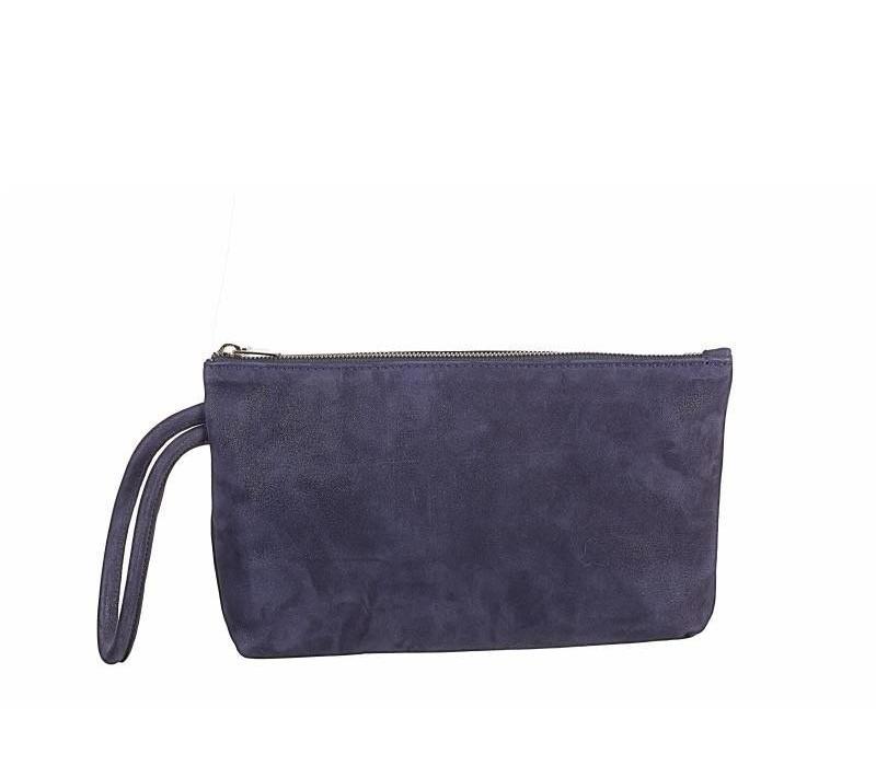 Navy Shimmer Suede Bag