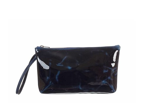 Le Babe Navy Marble Patent Bag