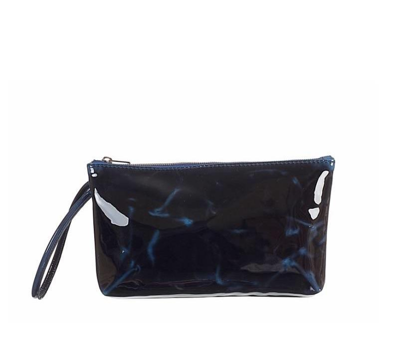 Navy Marble Patent Bag