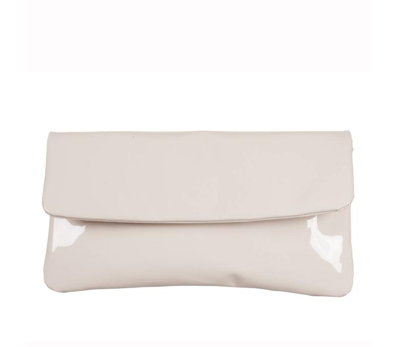 Le Babe Cream Patent Flap-over bag