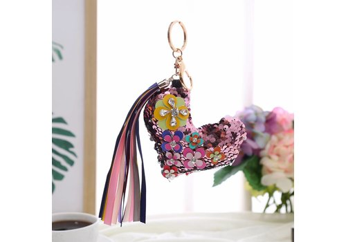 Peach Accessories B7 Pink sequin Heart keyring