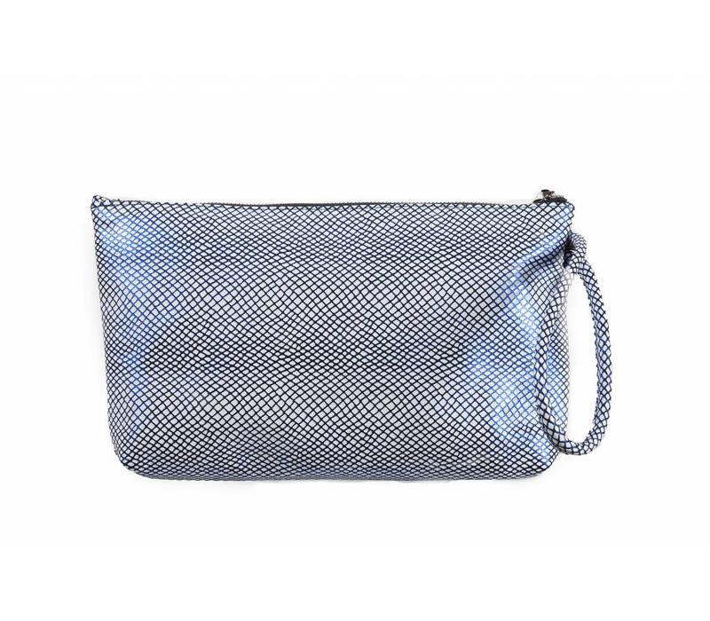 Le Babe Bag Navy/White Lattice Ziptop