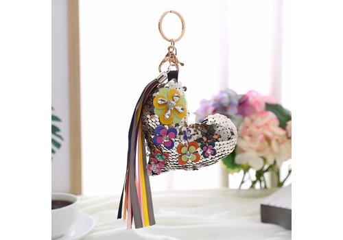 Peach Accessories B7 Silver sequin Heart Key ring