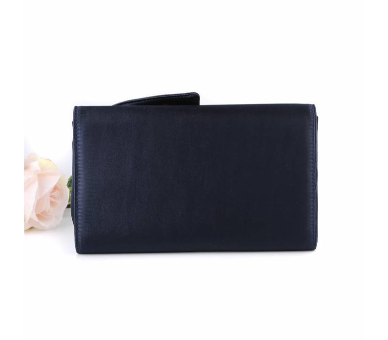F2240 Navy Satin Clutch