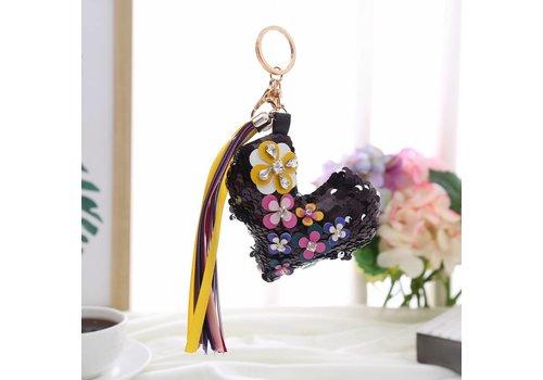 Peach Accessories B20 Black Sequin Heart Key ring