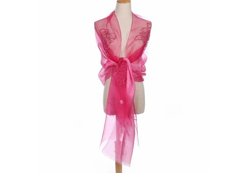 Peach Accessories Peach JS01-4 Silk Floral Wrap Fuchsia