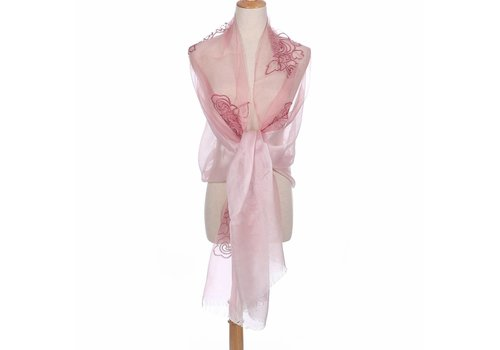Peach Accessories Peach JS01-4 Silk Floral Wrap Blush