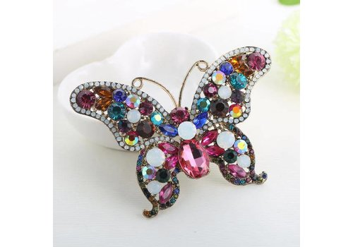 Peach Accessories Peach 8865 Multicoloured Butterfly Brooch