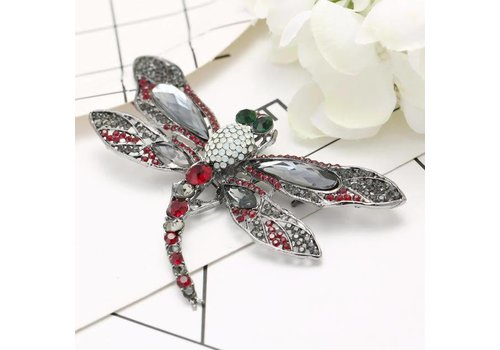 Peach Accessories Peach 6164 Ruby Red Dragonfly Brooch