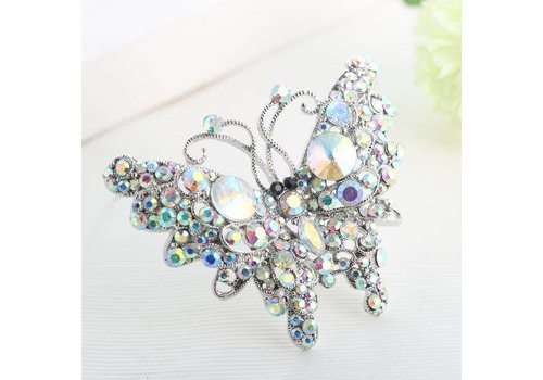 Peach Accessories Peach 6126 Diamonte Butterfly Brooch
