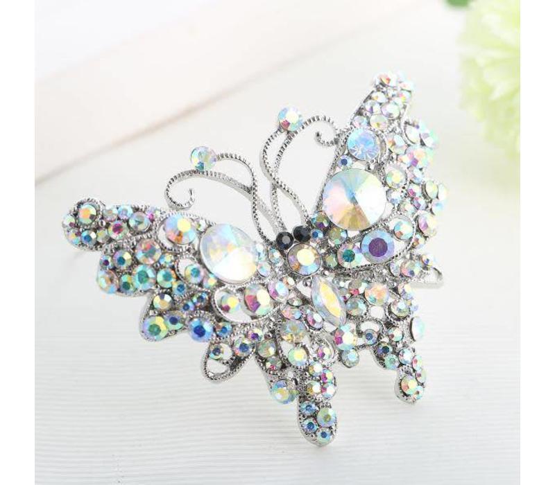 Peach 6126 Diamonte Butterfly Brooch