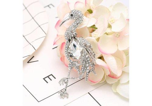 Peach Accessories Peach 8727 Crystal Flamingo Brooch