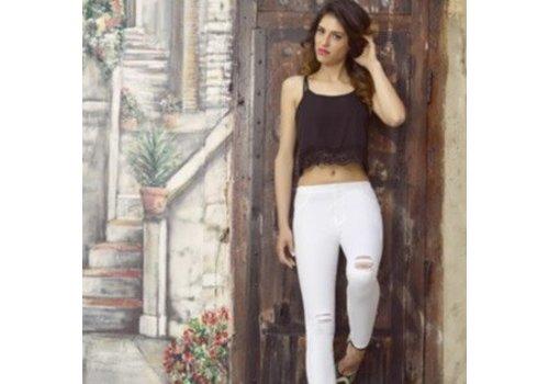 Ysabel Mora Ysabel Mora 20213 White Ripped Leggings