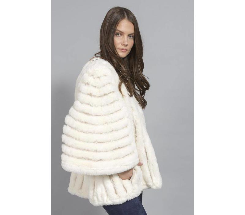 FMSUCT465A Cream Faux Fur striped Jacket