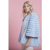 FMSUCT465A Blue Faux Fur striped Jacke