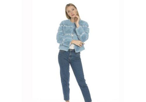 Jay Ley FMCT43A Blue Faux Fur Jacket