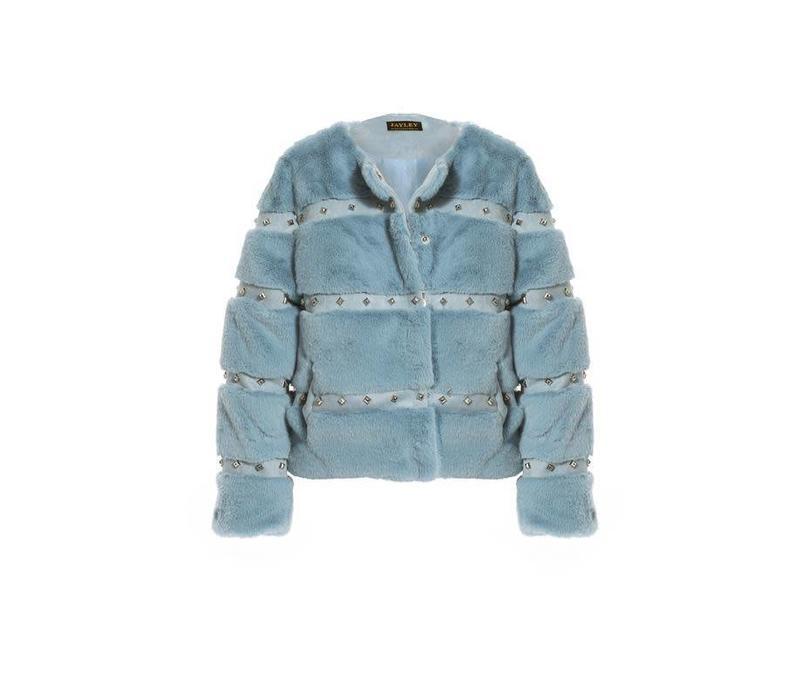 FMCT43A Blue Faux Fur Jacket