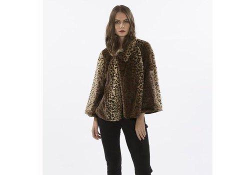 Jay Ley FF5019A Leopard Print Faux Fur Jacket