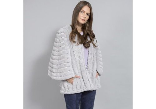 Jay Ley FMSUCT465A-03S Light Grey Faux Fur Jacket