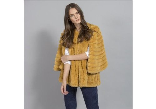Jay Ley FMSUCT465A-AOY Mustard Faux Fur Jacket