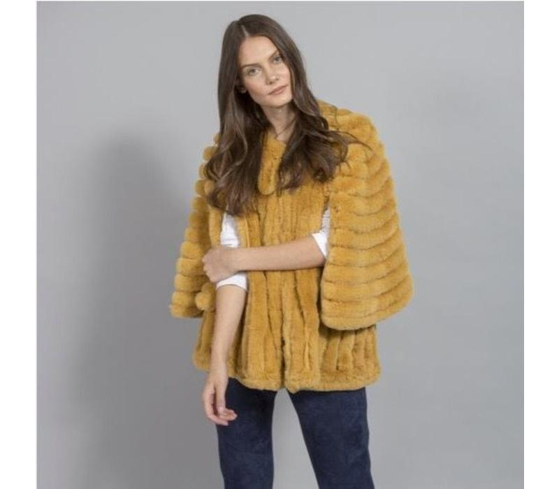 FMSUCT465A-AOY Mustard Faux Fur Jacket