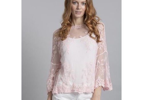 Jay Ley CYM12A-06 Vintage Lace Top Pink