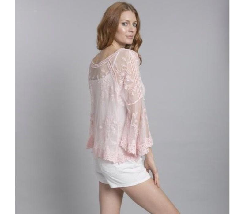 CYM12A-06 Vintage Lace Top Pink