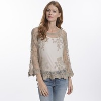 CYM12A-09 Vintage Lace Top Taupe