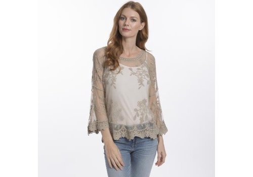 Jay Ley CYM12A-09 Vintage Lace Top Taupe