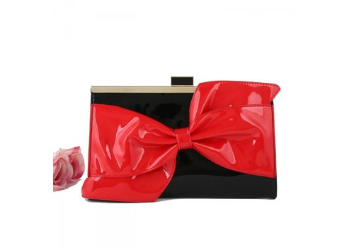 Peach Accessories CD4665 Black/Red Patent Clutch