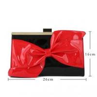 CD4665 Black/Red Patent Clutch