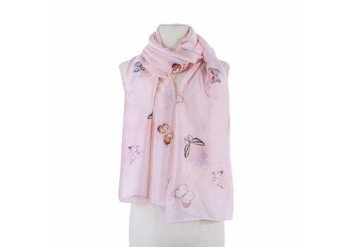Peach Accessories SSK 001 Baby Pink Butterfly Scarf
