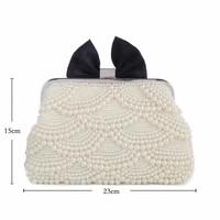 8167 Pearl/Black Satin Bow Clutch