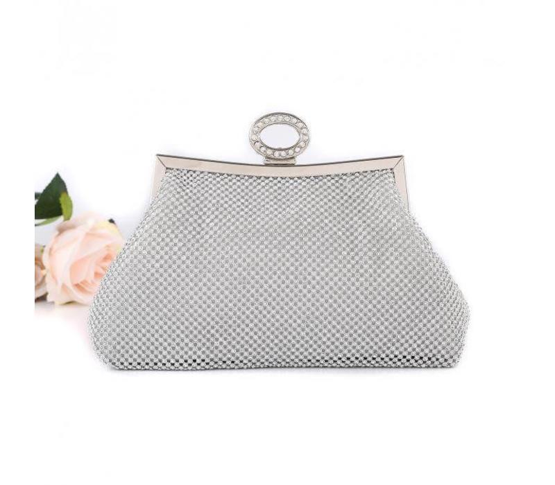 15940 Silver Diamonte Clutch